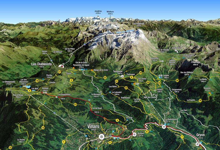 Carte 3D des Randonnées à Villars